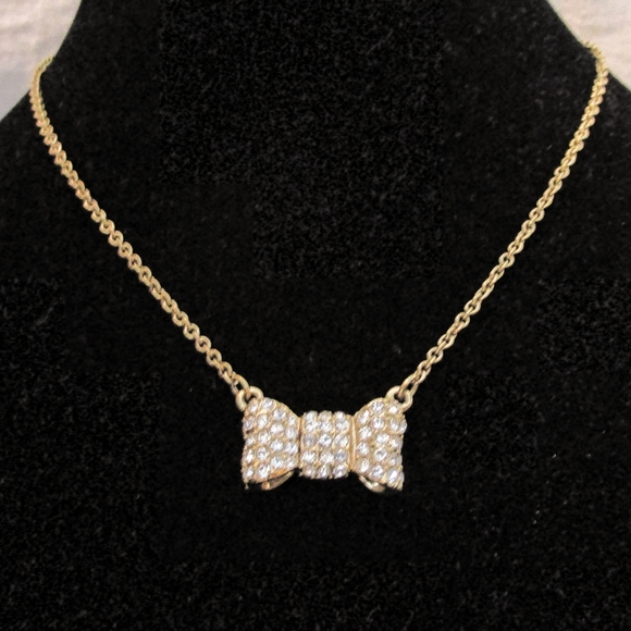 kate spade Jewelry - Kate Spade gold bow necklace with crystals